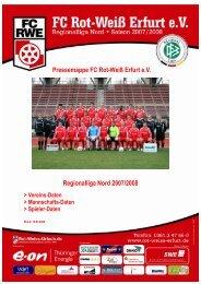 Pressemappe FC Rot-Weiß Erfurt e.V. Regionalliga Nord 2007/2008
