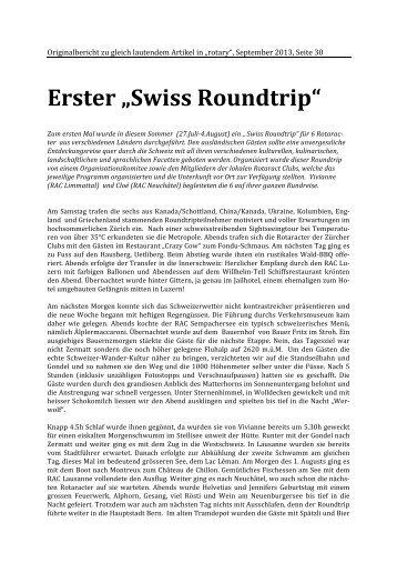 "Erster ""Swiss Roundtrip"" - Rotary Schweiz"