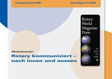 Fachtagung Distrikt 2000 Ebnat-Kappel, 31.10.2009 - Rotary Schweiz