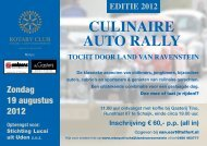 Flyer Culinaire auto rally / Oldtimerrit 19 augustus 2012