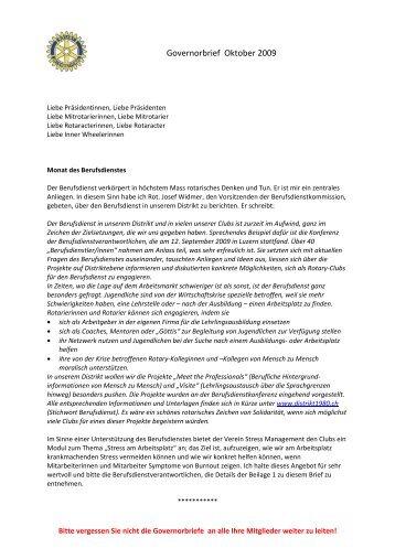 Governorbrief Oktober 09 - Rotary Schweiz