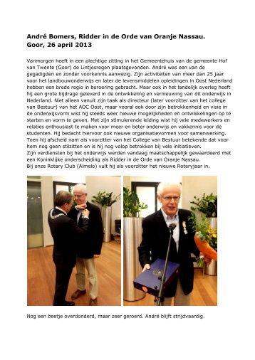 Onze Inkomend Voorzitter Ridder in de Orde van ... - Rotary Nederland