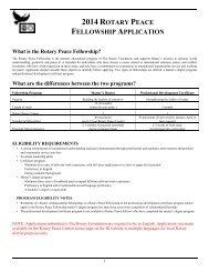 Modulo di domanda 2014 - Borsa di studio sulla pace del Rotary