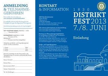 Einladung zum Distrikfest 2013 (Flyer) - Distrikt 1830