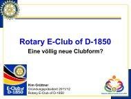 Vorstellung des Rotary E-Club of D-1850 - Distrikt 1850