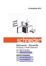 PLATTENPROGRAMM - Betonwerk - Baustoffe -  schneider, 96199 ...