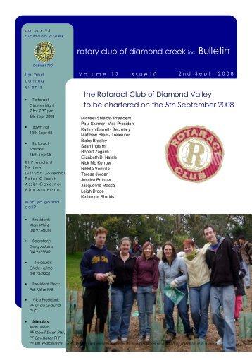 rotary club of diamond creek inc. Bulletin - District 9790