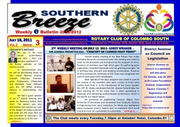 eBreeze. 3rd - July 18, 2011 - Rotary Club of Colombo South