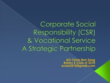 Corporate Social Responsibility - Rotary International District 3310