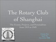 The Rotary Club of Shanghai - Rotary's Global History Fellowship