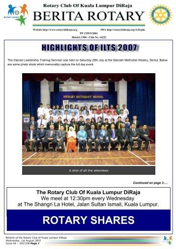 highlights of ilts 2007 - Rotary Club of Kuala Lumpur DiRaja