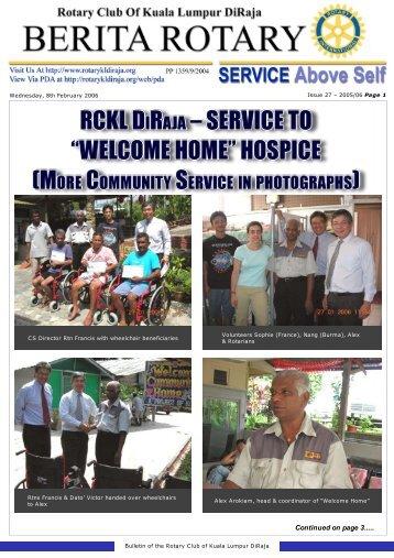 "service to ""welcome home"" hospice - Rotary Club of Kuala Lumpur ..."