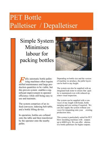 Manual Pallet Collating - Blow Moulding Controls