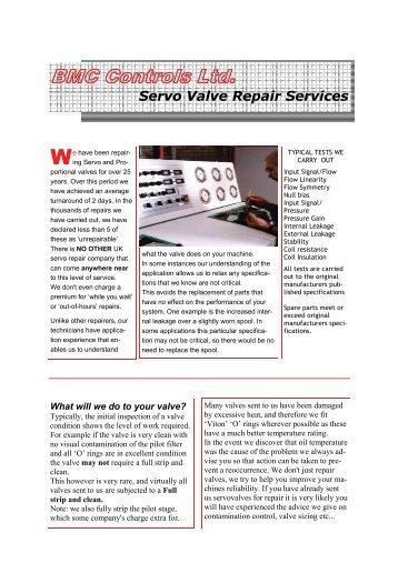 Servo valve repair service - Blow Moulding Controls