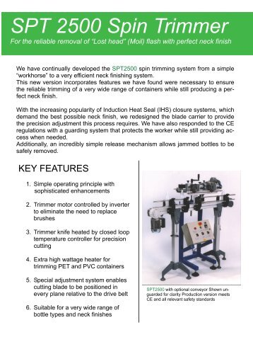 SPT 2500 Spin Trimmer - Blow Moulding Controls