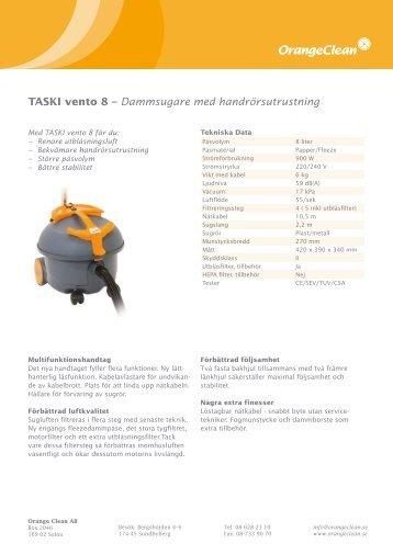 TASKI vento 8 – Dammsugare med ... - Orange Clean AB