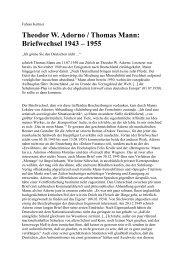Theodor W. Adorno / Thomas Mann: Briefwechsel ... - Rote Ruhr Uni