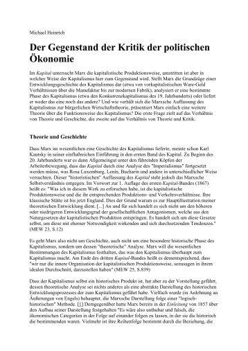 Der Gegenstand der Kritik der politischen Ökonomie - Rote Ruhr Uni