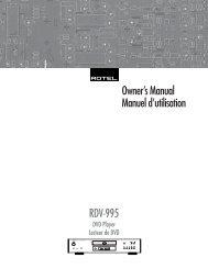 Owner's Manual Manuel d'utilisation RDV-995 - Rotel