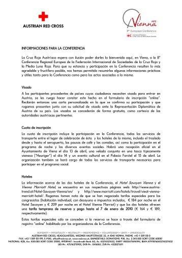 INFORMACIONES PARA LA CONFERENCIA La Cruz Roja ...