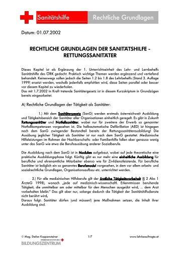Rechtliche Grundlagen im Rettungsdienst unter Berücksichtigung ...