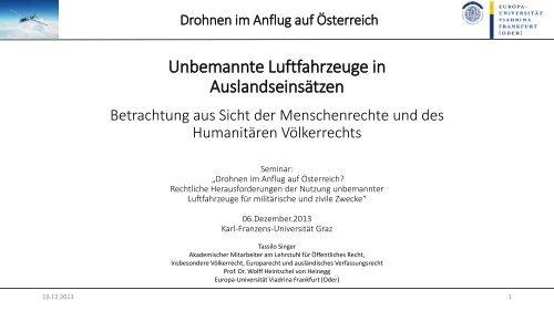 Die Präsentation von Tassilo Singer von der Universität Frankfurt ...