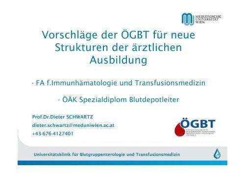 Ausbildungskonzept Transfusionsmedizin - Österreichisches Rotes ...