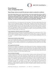 Press Release Thun, 24 September 2012 - Roth & Rau AG
