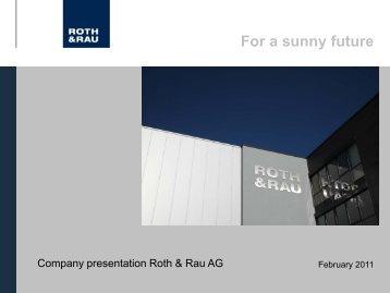 For a sunny future - Roth & Rau AG