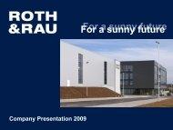 Turnkey solutions for CdTe solar module ... - Roth & Rau AG