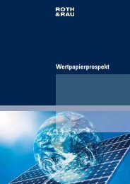 Wertpapierprospekt - Roth & Rau AG