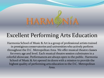Excellent Performing Arts Education