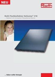 Prospekt Solar Flachkollektor Heliostar 218 - Roth Werke