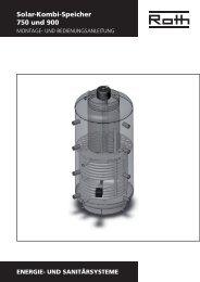 Solar-Kombi-Speicher 750 und 900 - Roth Werke