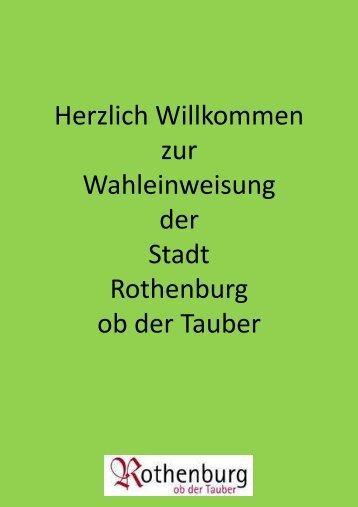 Schulung Landtagswahl und Bezirkswahl - Rothenburg ob der Tauber