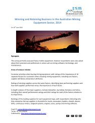 JSB Market Research: Winning and Retaining Business in the Australian Mining Equipment Sector, 2014