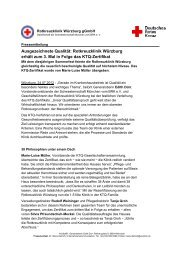 Rotkreuzklinik Würzburg erhält zum 3. Mal in Folge das KTQ-Zertifikat