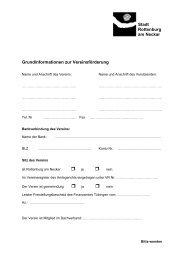Name und Anschrift des Vereins: - Stadt Rottenburg am Neckar