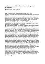 Jubiläumsvortrag 50 Jahre Evangelische Kirchengemeinde ...
