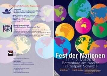 Flyer Fest der Nationen 2013 - Stadt Rottenburg am Neckar