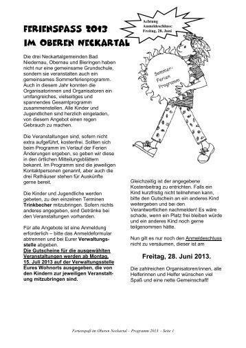 Ferienspass 2013 im Oberen Neckartal - Stadt Rottenburg am Neckar