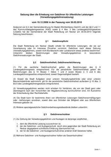 Verwaltungsgebührensatzung in der Fassung vom 30.03.2010