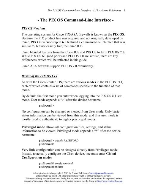 The PIX OS Command-Line Interface - Router Alley