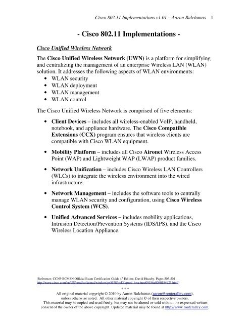 Cisco 80211 Implementations