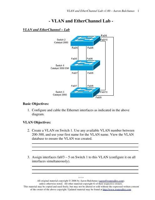 Vlan And Etherchannel Lab Router Alley