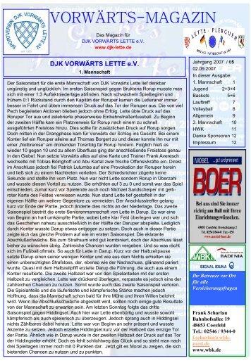 VORWÄRTS-MAGAZIN - DJK Vorwärts Lette eV