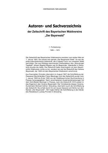 Autoren- und Sachverzeichnis - Bayerischer Wald Verein