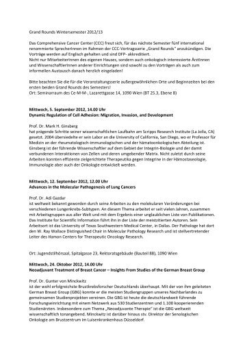 Grand Rounds Wintersemester 2012/13 Das Comprehensive ...