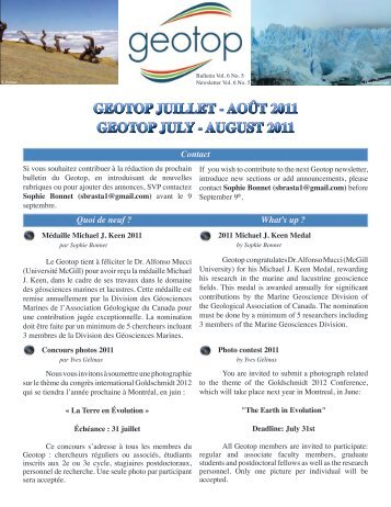 Télécharger le Bulletin du GEOTOP / Download the ... - Le Geotop
