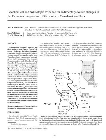 Geochemical and Nd isotopic evidence for sedimentary-source ...